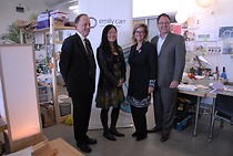 Dr. Ron Burnett (President + Vice-Chancellor), The Honourable Naomi Yamamoto, Minister of Advanced Education, Evaleen Jaager Roy (Board Chair) and Blair Qualey (Board Member).