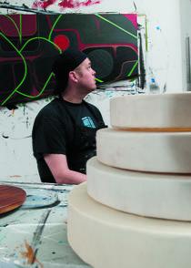 Sonny Assu in his studio