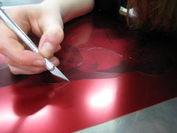 Working on a stencil