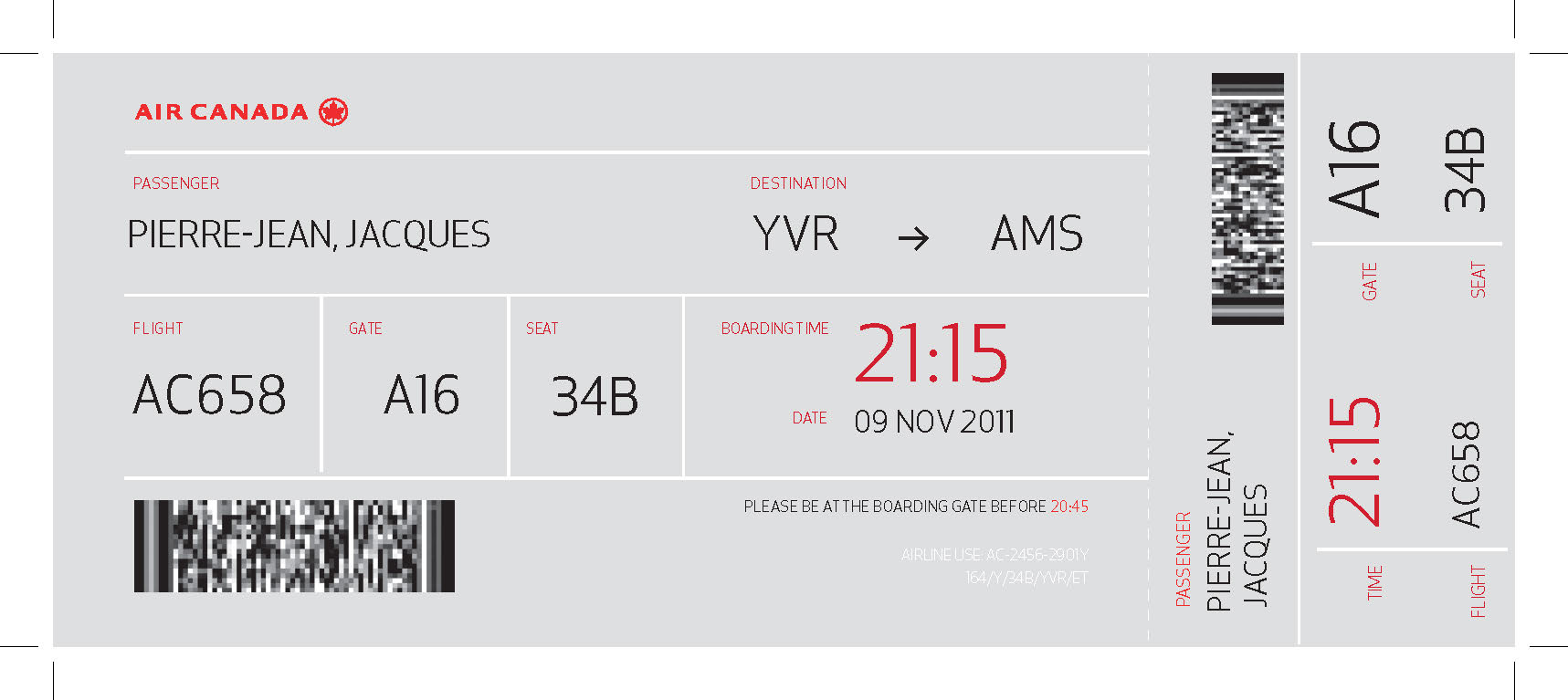 Calendar Design Concept : Canada airline boarding pass design emily carr university