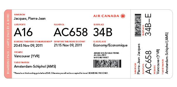 Air Canada Boarding Pass RedesignDelta Boarding Pass Template