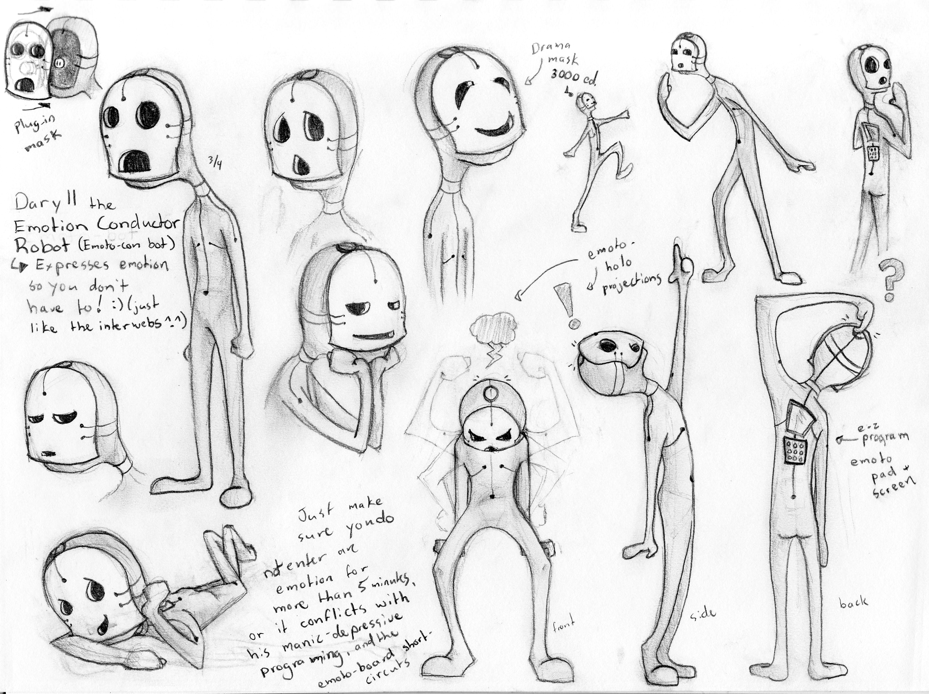 Character Design Description : Daryll the emotion conductor robot emily carr university