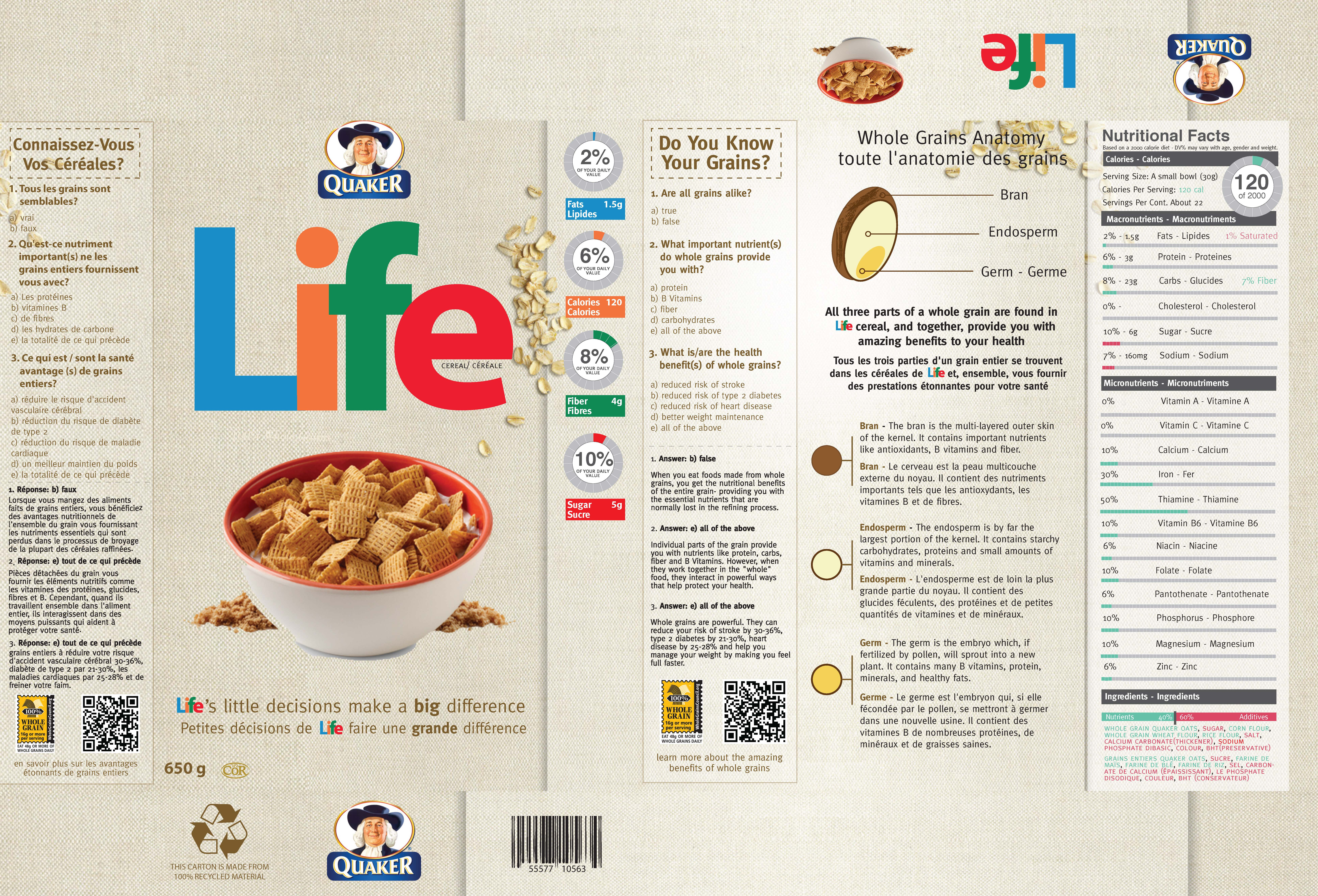 quaker life cereal rebrand + nutritional labelling design | emily